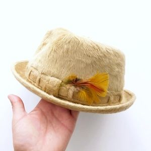Charles Knox VTG Fedora Tan Fur Hat Unique Rare